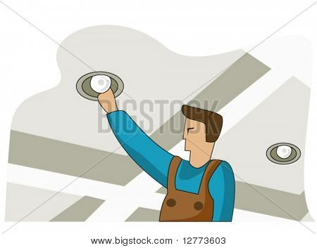 Changing Bulb - Vector