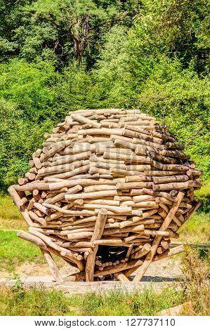 Wooden stacked playground in the Saxon Switzerland