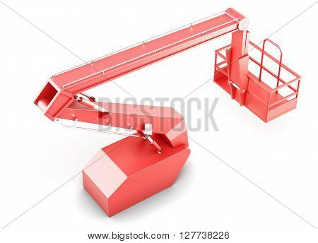 Red cherry picker platform isolated on white background. 3d rendering.