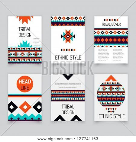 Set of geometric tribal colorful flyers, brochure templates, design elements, modern tribal pattern, gift card - stock vector