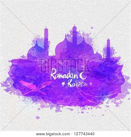 Creative Mosque made by purple colour splash with Quran Shareef on stylish grey background for Islamic Holy Month, Ramadan Kareem celebration.