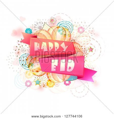 Glossy ribbon with text Happy Eid on colourful floral design decorated background for Muslim Community Festival celebration.