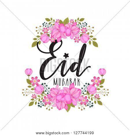 Pink beautiful flowers decorated greeting card for Muslim Community Festival, Eid Mubarak celebration.