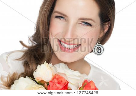 Happy Bride With Bouquet