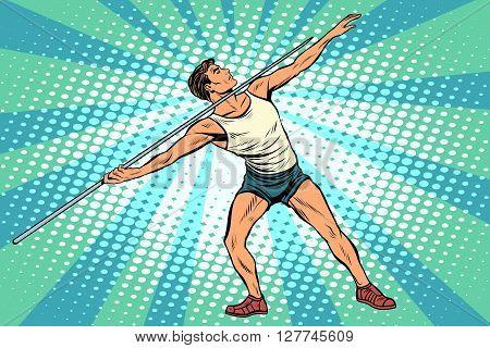 Javelin thrower athletics. Summer sports games. Vector athlete. pop art retro style