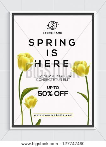 Spring Sale Flyer, Sale Banner, Sale Poster, Upto 50% Discount Offer.Vector illustration with beautiful flowers.