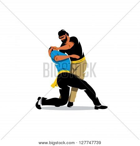 Fight two people Isolated on a White Background