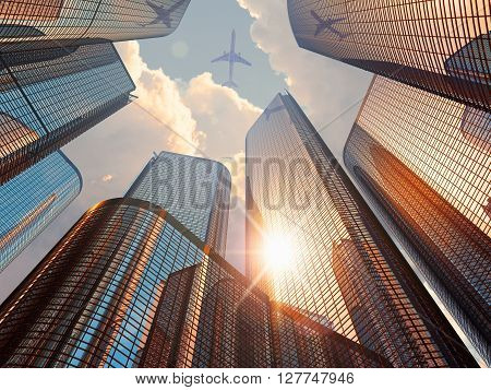 3D render illustration of beautiful sunset with blue modern high tall glass reflective skyscrapers in city downtown district with sun light and airliner in drama