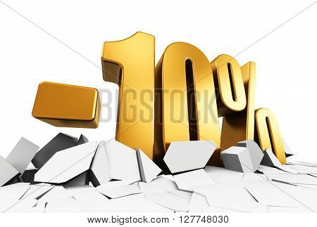3D render illustration of golden minus 10 percent price cut off text on cracked surface isolated on white background