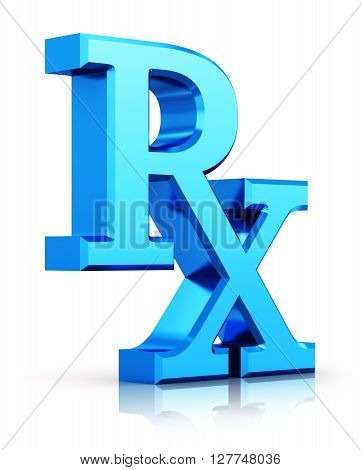 3D render illustration of blue metallic RX prescription medicine drugs logo symbol sign or icon isolated on white background with reflection effect