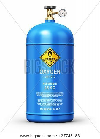 3D render illustration of blue metal steel liquefied compressed natural oxygen gas container or cylinder for welding or medical use with high pressure gauge meter and valve isolated on white background poster