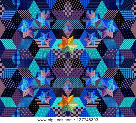 Seamless patchwork pattern with bright stars. Mysterious starry night. Beautiful vector illustration of quilt.