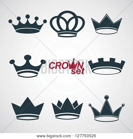 Business conceptual icons can be used in graphic and web design. Set of vector vintage crowns luxury ornate coronet illustration.
