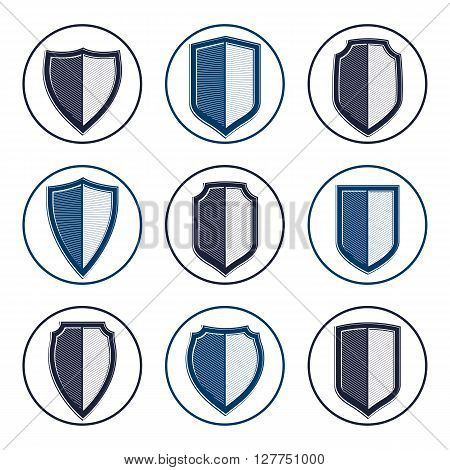 Set of stylized coat of arms decorative vector defense shields collection. Heraldic symbols Protection and security idea.