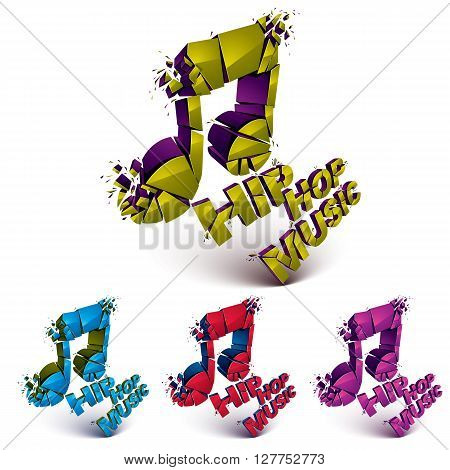 Colorful 3d vector shattered musical notes collection with specks and refractions. Hip hop music theme dimensional facet design music demolished symbols set.