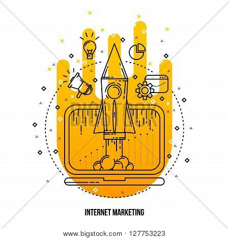 Internet marketing illustration. Vector outline flat background . Outline icons collection. Internet promotion concept Internet marketing illustration . Internet promotion items Line art flat style