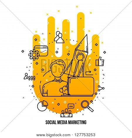 SMM expert specialist freelance. Social media marketing concept illustration. Vector SMM ions set. freelance infographic Outline flat style. Line art . Social media freelancer . Marketing expert