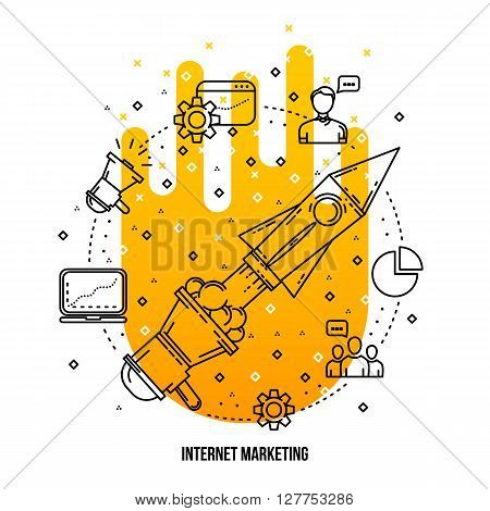 Search engine optimization illustration. Vector outline flat background . Outline icons collection. SEO concept. Line art flat style. Seo and internet marketing illustration . Seo marketing items