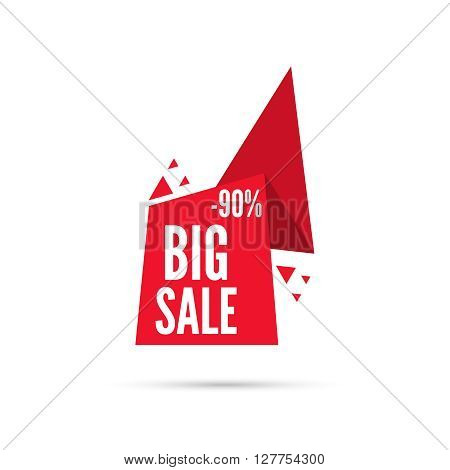 Tag with ribbon and label. Big sale. Pointer with triangles