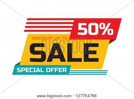 Sale - discount up to 50% - special offer - abstract promotion vector banner. Sale discount concept layout. Design element for advertising print poster or flyer.