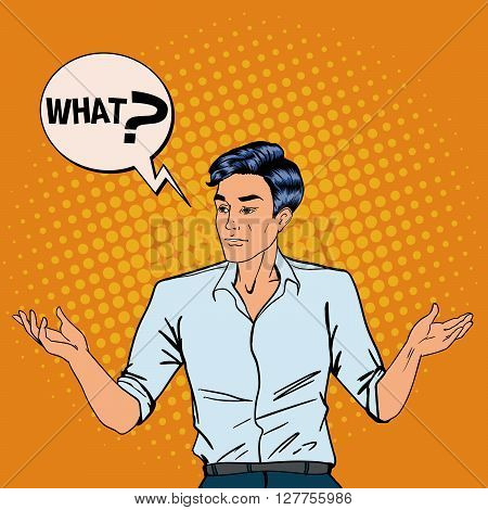 Disappointed Man Throws Up His Hands.  Pop Art Vector illustration