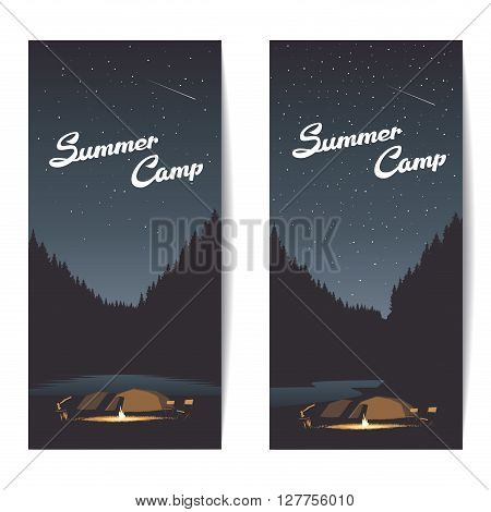 Set of summer camp banners at night with bonfire axe tents amid the forest and river or lake summer background
