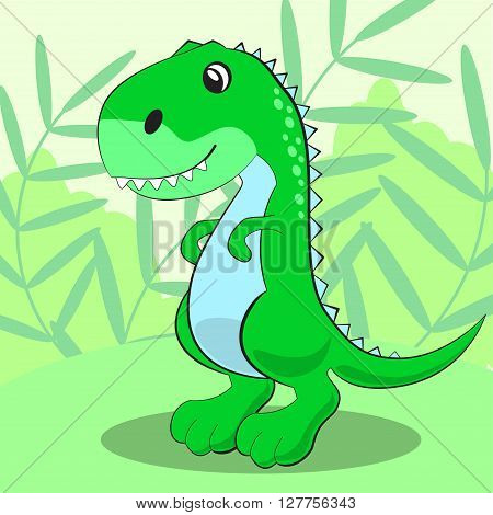 Cute Dinosaur Standing On A Green Meadow And Smiling. Vector