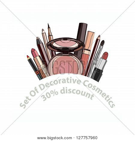 set of decorative cosmetics - eye shadow, liner, mascara, comb, brush, dropper, a balm for the eyes, eyebrow balm, tubes. discount. vector illustration for banners, brochures and promotional items