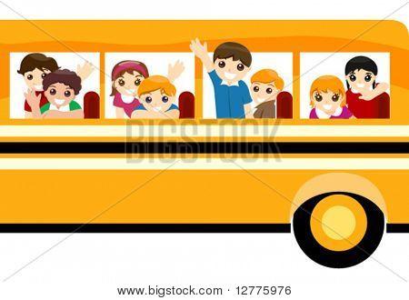 Children on School bus - Vector