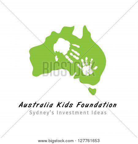 Australia map silhouette logo for kids foundation