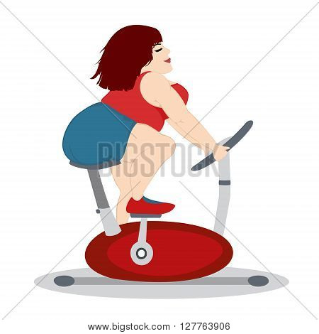 The fat girl is training on a stationary bike. Isolated on a white background. Square location. Vector illustration.