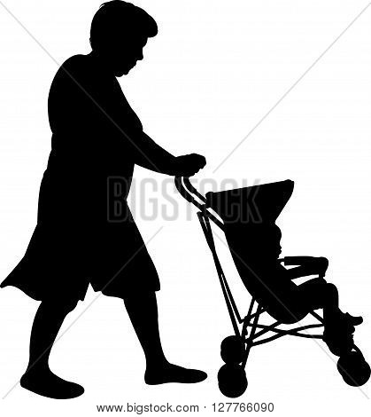 a mother with baby stroller, silhouette vector
