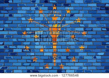 Flag of Indiana on a brick wall - Illustration, 