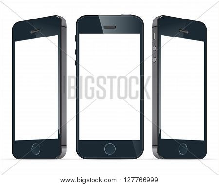 Realistic three black mobile phone with blank screen isolated. Modern concept smartphone devices with digital display. Vector illustration