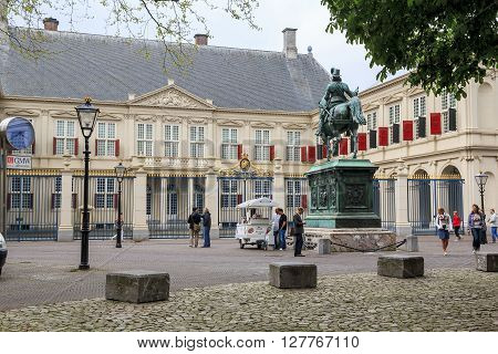 Hague, Netherlands - May 8: This is the Royal Palace Noordeinde in Hague the official residence of the reigning monarch May 8, 2013 in Hague, Netherlands.