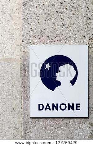 Paris, France - March 28 2016: Danone is a French multinational food-products corporation based in Paris. It has four business lines: fresh dairy products waters, baby nutrition and medical nutrition