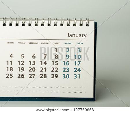 January. Calendar sheet. Calendar of the year two thousand sixteen.