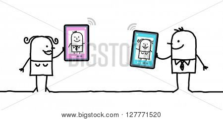 cartoon character with tablet - meeting