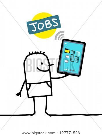 cartoon character with tablet - jobs