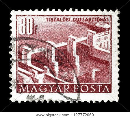 HUNGARY - CIRCA 1952 : Cancelled postage stamp printed by Hungary, that shows Tiszalok dam.