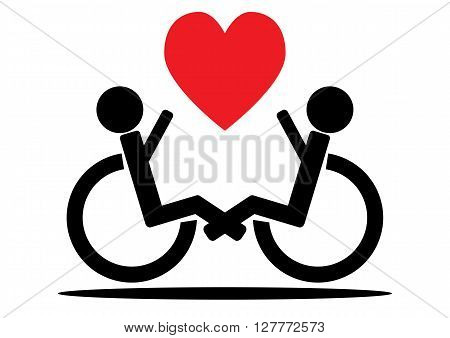 Couple wheelchair users a black outline and a red heart. Isolated.