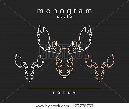 Monogram elk totem moose,  A set of monogrammed moose. Sketch of moose, elk. Wild animals. Emblem  Christmas deer. Forest animals. Elk horns. The head of a moose.