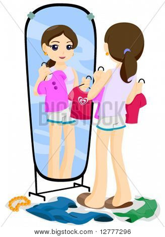 Girl picking clothes - Vector