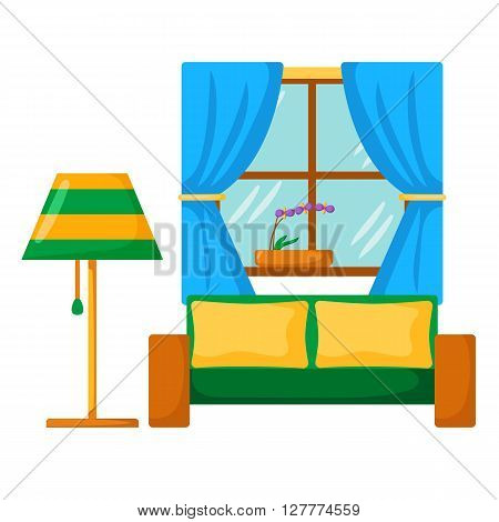Vector sofa interior. Cartoon living room interior with sofa lamp window. Vector illustration with front view sofa interior. Home relaxing. Isolated sofa interior. Cartoon furniture indoor design