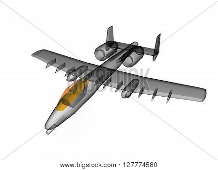 transparent x-ray plane. with orange transparent cabin. icon for game. isolated on white background. simple to use. 3d illustration.