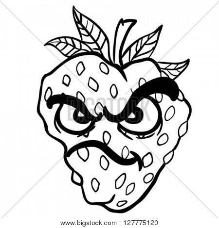 black and white angry strawberry cartoon illustration