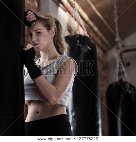 Blonde Woman Training Boxing
