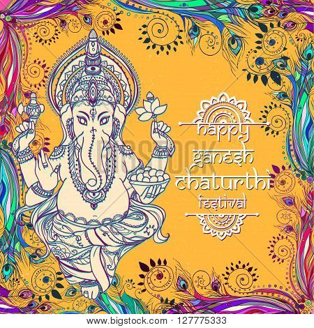 Ornament beautiful card with God Ganesha. Illustration of Happy Deepavali. Ganesh chaturthi festival dedicated to Ganesha. Hinduism in India. Mediation