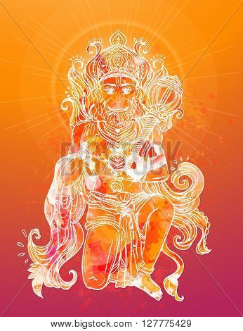 Card with of Lord Hanuman Illustration of Happy Dussehra simian god the son of the wind god Vayu and Apsaras in Saivism one of the avatars of Shiva. Use for print textiles website
