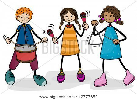 Kids playing Music - Vector